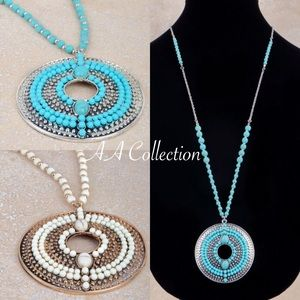 b537b254fedf Jewelry - Natural stone pendant necklace chain earrings boho